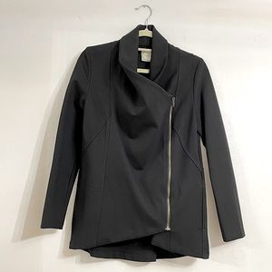 ALYTHEA Asymmetric Black Zip Jacket